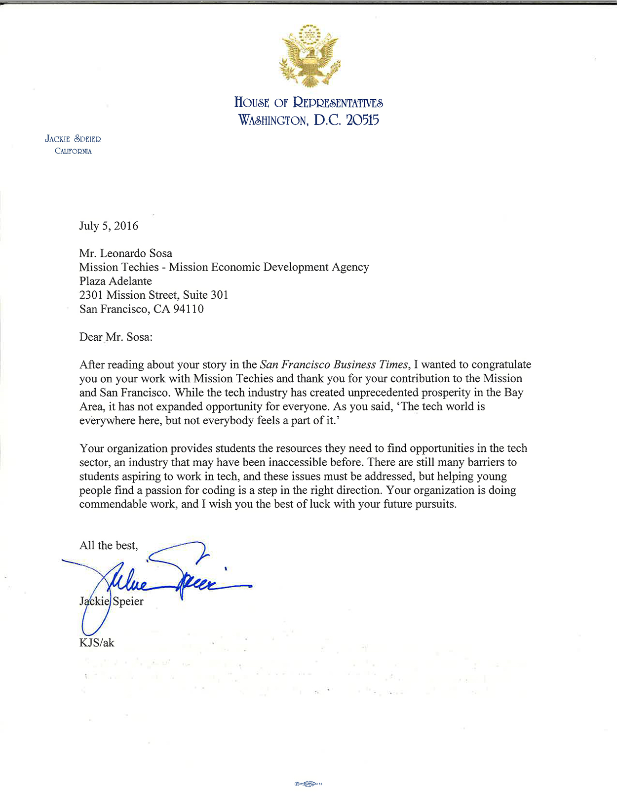 Web House of Representatives Jackie Speier Letter-Mission Techies 070716